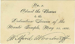 Manti Utah Temple - Manti Temple dedication admission, signed by Wilford Woodruff