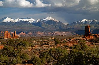La Sal Mountains - La Sal Mountains as seen from Arches National Park