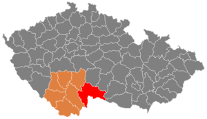District location in the South Bohemian Region within the Czech Republic