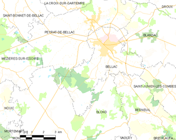 Map of the commune de Bellac