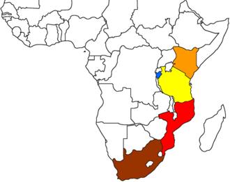 Landlocked developing countries - Image: Map displaying landlocked Burundi's strife with finding a suitable export route