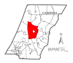 Map of Cambria Township, Cambria County, Pennsylvania Highlighted.png