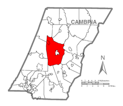 Map of Cambria County, Pennsylvania highlighting Cambria Township
