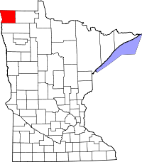 Map of Minnesota highlighting Kittson County