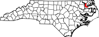 Map of North Carolina highlighting Chowan County