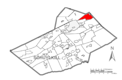 Map of Schuylkill County, Pennsylvania Highlighting Kline Township