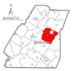 Map of Somerset County, Pennsylvania highlighting Stonycreek Township.PNG