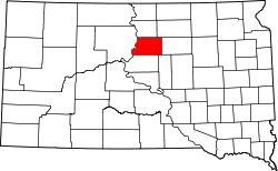 Map of South Dakota highlighting Potter County.svg