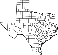 Map of Texas highlighting Morris County