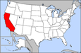 Location of California within the United States.