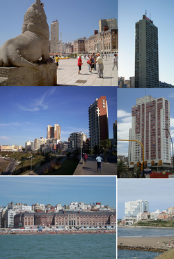 بالا از چپ : Mar del Plata skyline; گردشگری in Bristol and Rambla beaches, with the Casino and Gran Hotel Provincial in the background; Juan Carlos Castagnino Municipal Museum of Art; Punta Mogotes Lighthouse; Water Tower; Havanna Building; شیر دریایی Monument; Casino Central