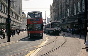 Market Street tram stop - Image: Market Street, Manchester geograph.org.uk 763991