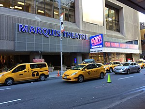 Marquis Theatre - The theatre marquee, box office and entrance on the 46th Street side of the New York Marriott Marquis hotel