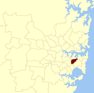 Electoral district of Marrickville - Location within Sydney