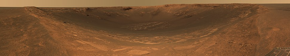 This approximate true-color panorama shows the impact crater Endurance on Mars. It was taken by the panoramic camera on the Opportunity rover and is a composite of a total of 258 images taken in the 480, 530 and 750 nanometer spectral bands (blue / green, green and near infrared).