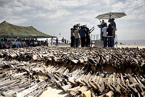 Disarmament - Martin Kobler addresses attendees at a disarmament ceremony in Goma, Democratic Republic of Congo