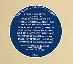 Martineau family - The Blue Plaque