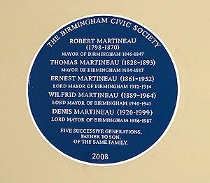 Blue plaque in Birmingham Council House, comme...
