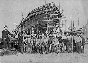 Port Jefferson, New York - The Mather Shipyard in 1884