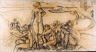 Etude pour le réveil d'Ulysse, décor des Jeux de Nausicaa