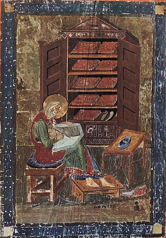 Scriptorium - Ezra in the Codex Amiatinus, believed to be based on a portrait of Cassiodorus in his library. Monkwearmouth-Jarrow Abbey, before 716