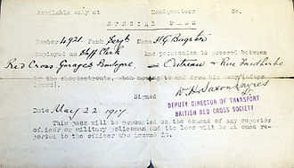 "Travel document - A ""special pass"" issued for travel in Boulogne by the British Red Cross during World War I"