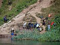 Men Washing Clothes on Congolese Shore of Lake Kivu - Viewed from Rwandan Side of Frontier - Cyangugu (Rusizi) - Rwanda (9009428684).jpg