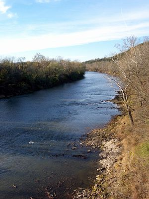 This is a picture of the Meramec River as it f...