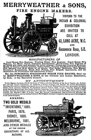 Merryweather & Sons - 1886 advertisement