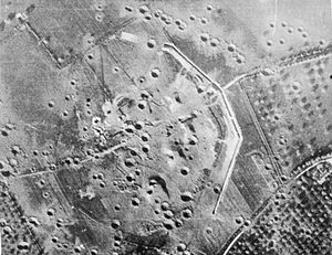 Battle of Merville Gun Battery - Overhead view of the battery, showing the damage caused by a bombing raid in May 1944