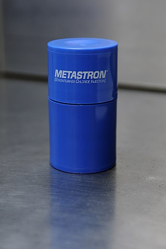 Strontium-89 - Metastron, a preparation of strontium-89 chloride made by GE Healthcare and used for purposes such as prostate cancer treatment.