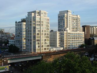 New Kent Road - View from the western end of New Kent Road looking northwest towards Metro Central Heights, designed by Ernő Goldfinger in the 1960s.