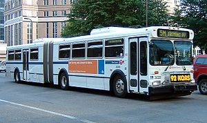Transportation in Minnesota - An articulated bus in Minneapolis