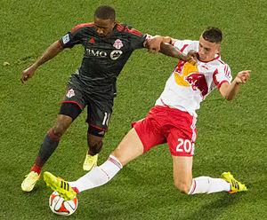 Matt Miazga - Matt Miazga tackles Toronto FC's Jermain Defoe in June 2014