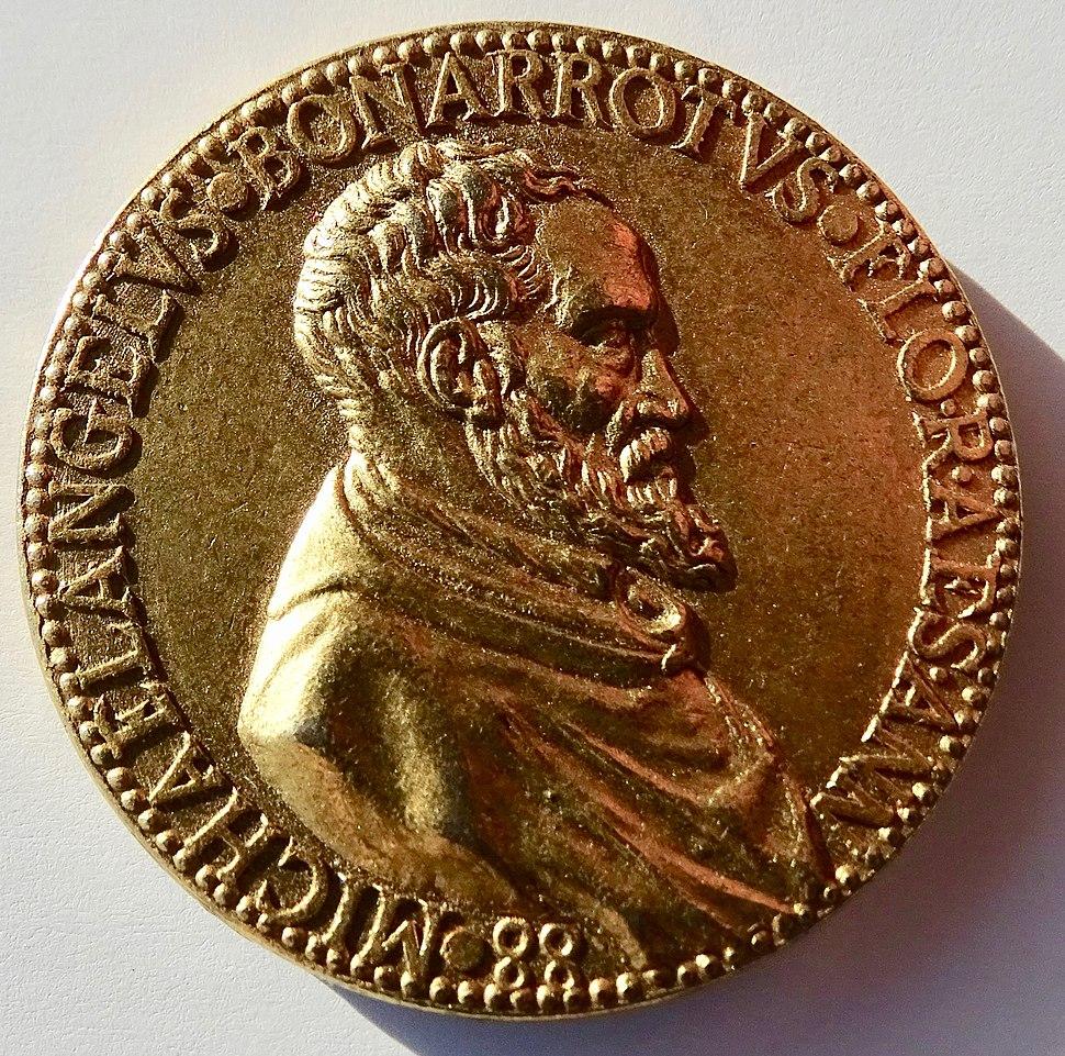 Michelangelo 88th Birthday Medal by Leone Leoni gilt Æ- 19th Century Electrotype, obverse