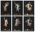Michelangelo Maestri, A group of six allegorical female figures, five hours of the night, one hour of the day, set of 6, gouache on paper, each approx. 42 x 31 cm.jpg