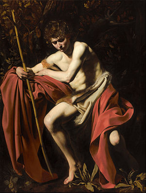 Tenebrism - John the Baptist (John in the Wilderness), by Caravaggio, 1604, in the Nelson-Atkins Museum of Art, Kansas City