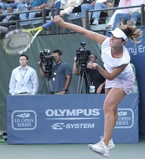 Michelle Larcher de Brito - Larcher de Brito facing Serena Williams at the 2008 Bank of the West Classic