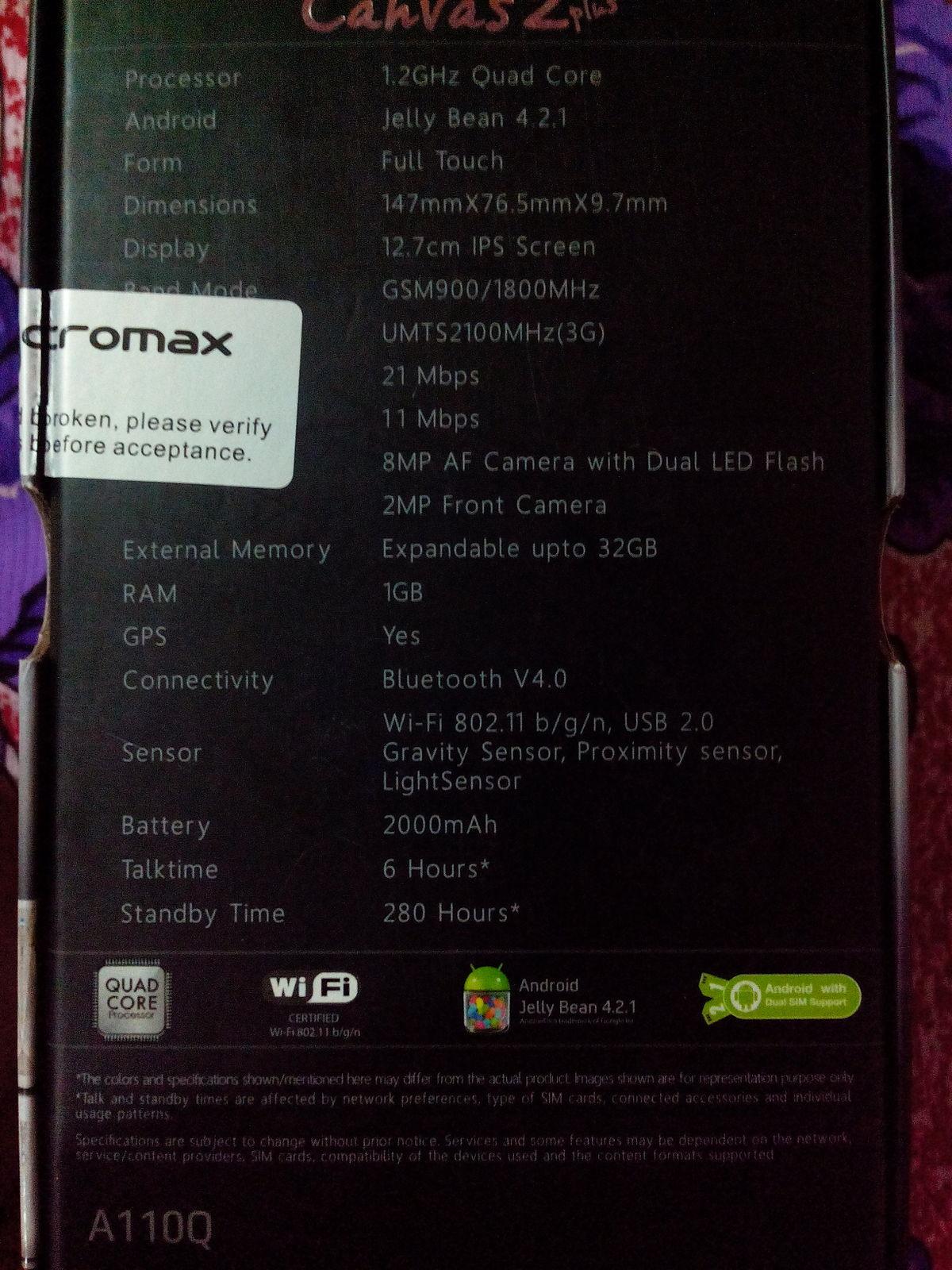 best service d8165 c7e3f Micromax Canvas 2 Plus A110Q - Wikipedia