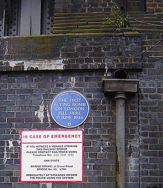 V-1 flying bomb - On 13 June 1944, the first V-1 struck London next to the railway bridge on Grove Road, Mile End, which now carries this English Heritage blue plaque. Eight civilians were killed in the blast.