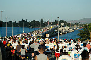 "Admiral Clarey Bridge - More than 1,400 military and civilian runners make their way across the Adm. Bernard ""Chick"" Clarey Bridge during the 2006 Ford Island 10k Bridge Run at Pearl Harbor."