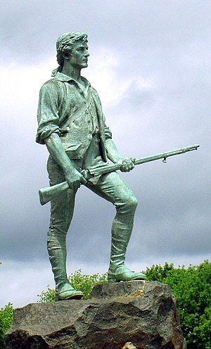 Militia - The Lexington Minuteman, a statue commemorating Captain John Parker, a commander of Massachusetts militia forces, during the American Revolutionary War