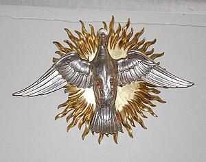 Eternal sin - The Holy Spirit represented as a dove, Mitteleschenbach, Germany.