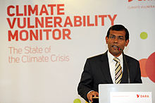 Mohamed Nasheed, President of the Maldives, at the launch of the Climate Vulnerability Monitor.jpg