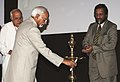 "Mohd. Hamid Ansari lighting the lamp to inaugurate the Indian Water Forum an International Water Convention ""Water Security and Climate Change Challenges and Opportunities"", in New Delhi on April 13, 2011.jpg"