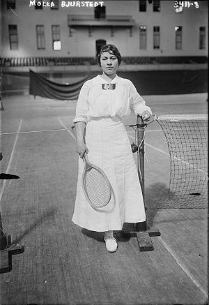 Molla Mallory - Molla Bjurstedt at the 1915 Women's National Indoor Tennis Tournament at the Seventh Regiment Armory, New York City.