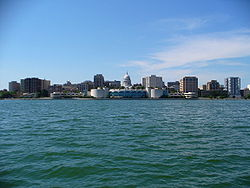 The skyline of Madison as seen from Lake Monona