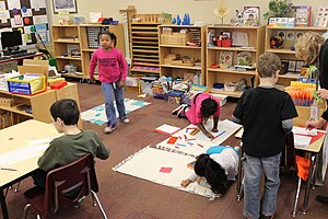 Montessori education - A Montessori classroom in the United States.