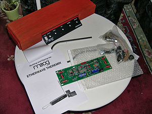 Theremin - The components of a modern Moog theremin, in kit form.