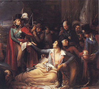 Battle of Cholet - Death of Bonchamps (detail), by George Degeorge, 1837.